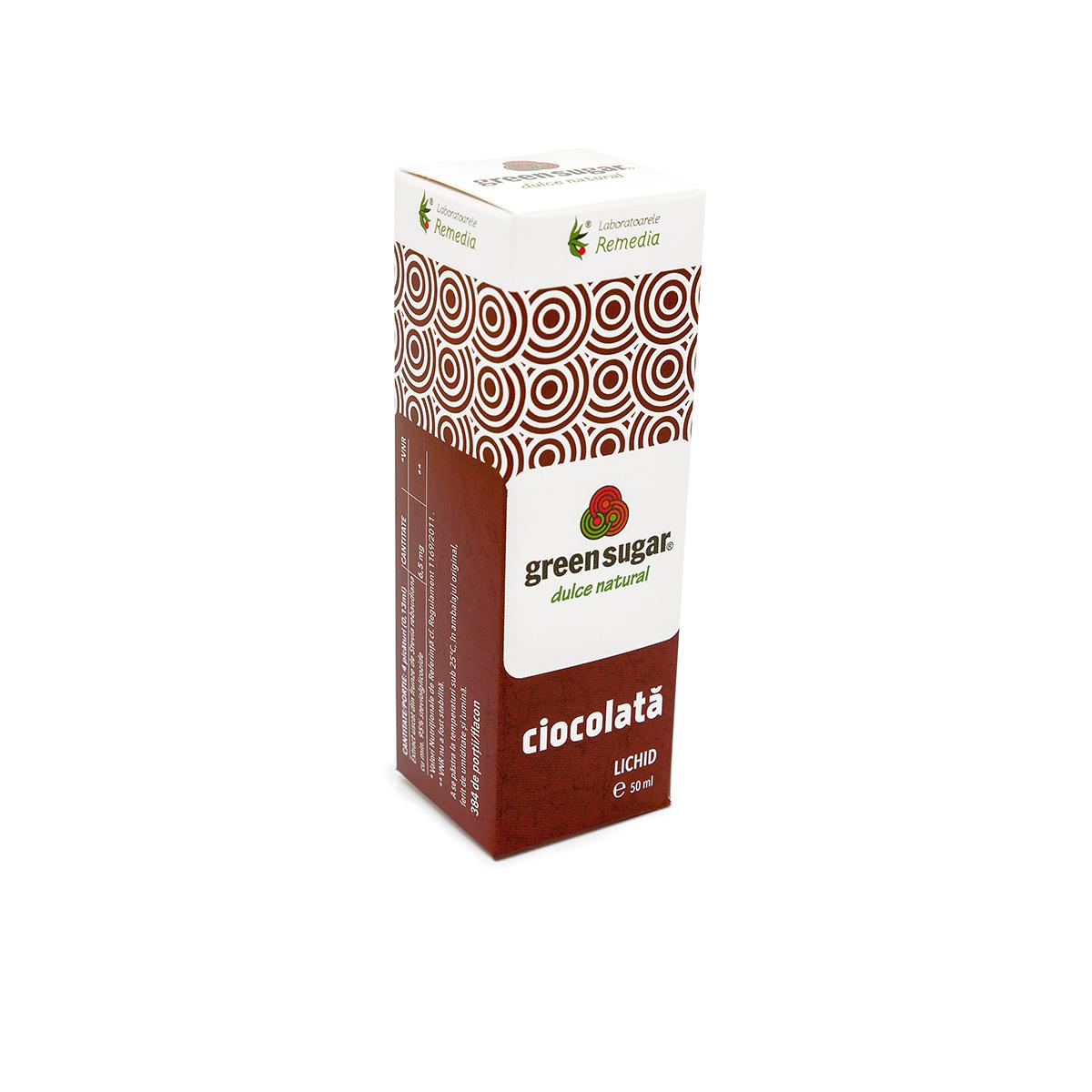 Green sugar lichid cu aromă de ciocolată, 50 ml, Remedia