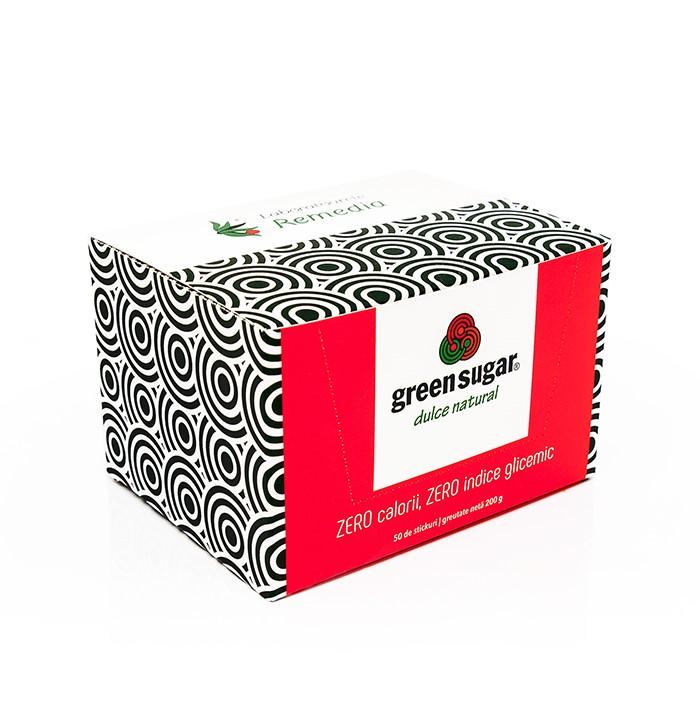 Green Sugar îndulcitor natural Stick-uri, 50 bucăți, Remedia