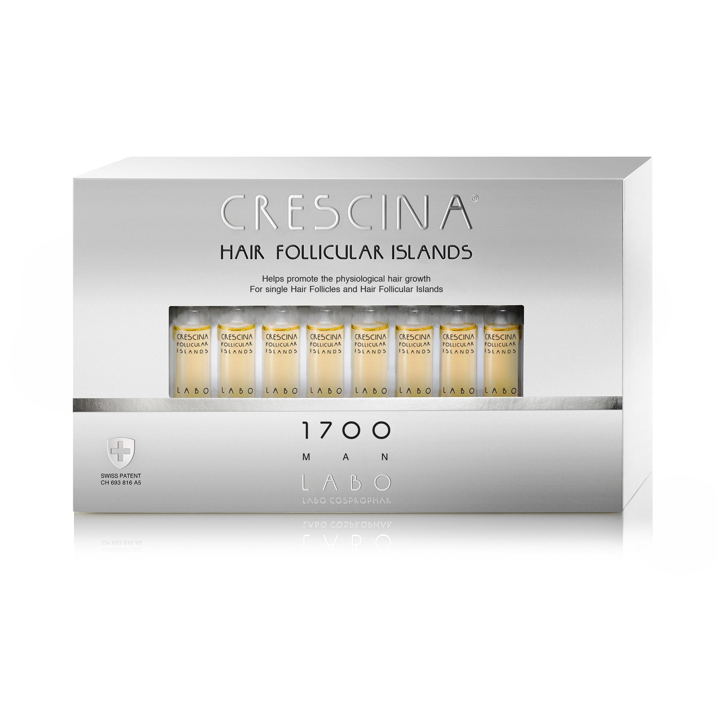 Tratament pentru stadii inițiale de rărire a părului la bărbați Crescina Follicular Islands 1700, 20 fiole, Labo