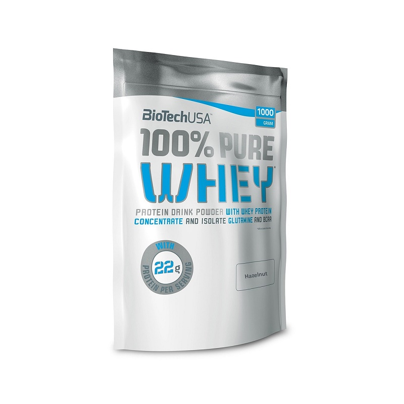 Pudra proteică 100% Pure Whey Hazelnut, 454 g, BioTech USA