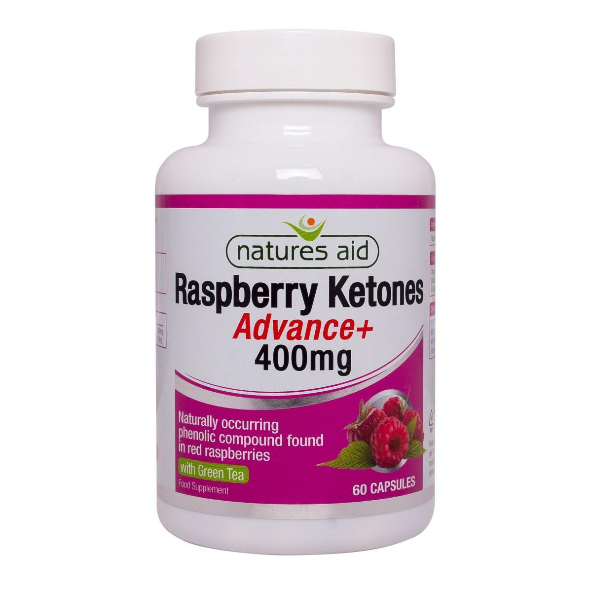 Cetona de zmeură cu ceai verde 400 mg Raspberry Ketones Advance+, 60 capsule, Natures Aid
