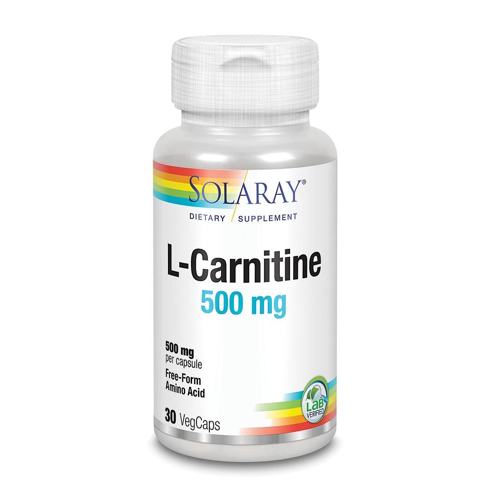 L-Carnitine 500mg Solaray, 30 capsule vegetale, Secom