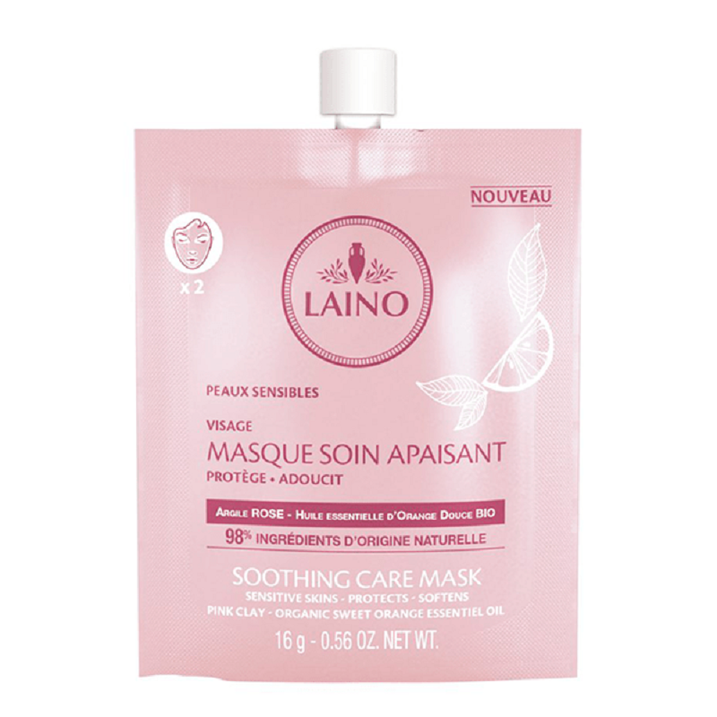 Mască calmantă cu argilă roz pentru ten sensibil, 16g, Laino