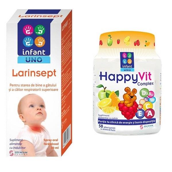 Spray oral Infant Uno Larinsept, 30 ml + Happyvit Complex Infant Uno, 50 jeleuri, Solacium