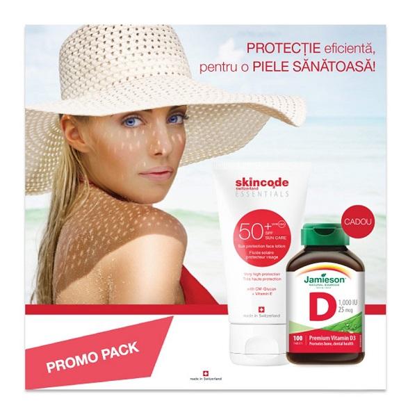 Lotiune de fata cu protectie solara SPF 50 Essentials, 50 ml, Skincode + Vitamina D3 1000UI, 100 tablete, Jamieson
