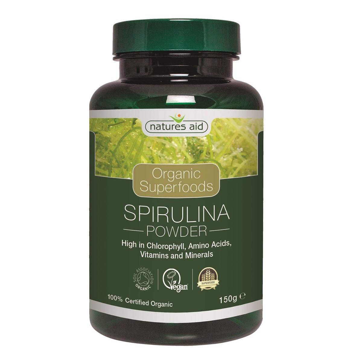Pudra de spirulină organică, 150 g, Natures Aid