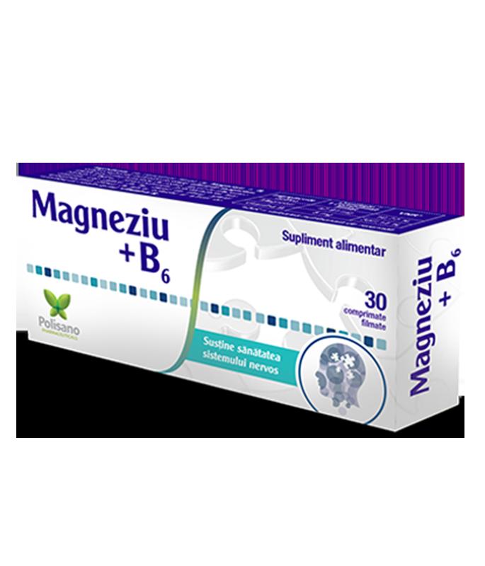Magneziu + Vitamina B6, 60 comprimate, Polisano