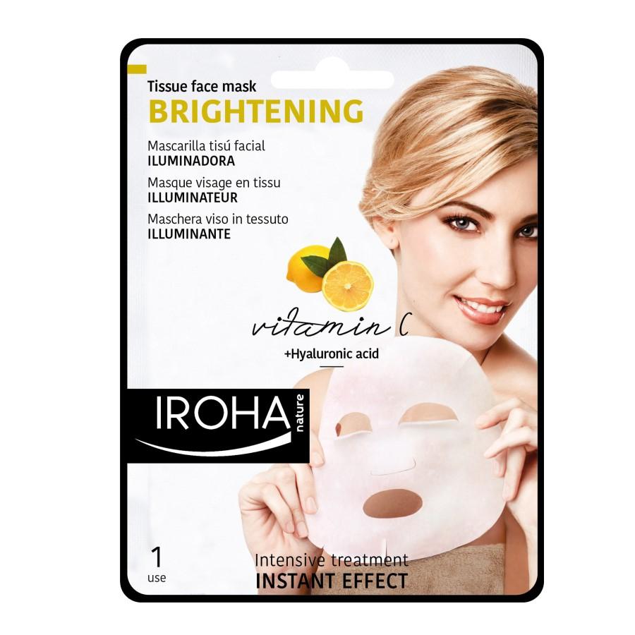 Masca cu efect de luminozitate pentru fata pe suport textil, 23 ml, Iroha