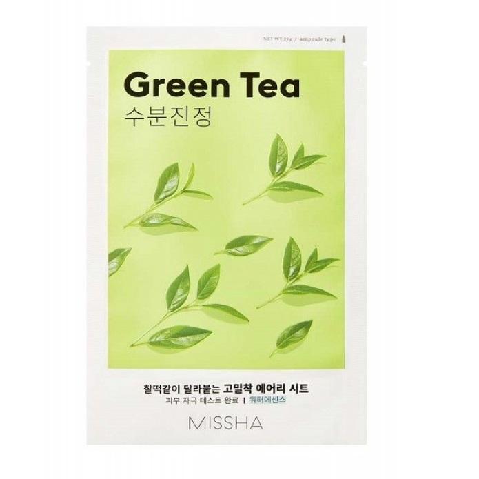 Masca cu extract de ceai verde pentru ten uscat Airy Fit, 19 g, Missha