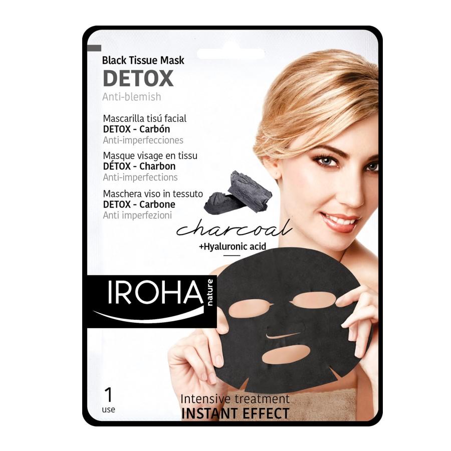 Masca pentru fata pe suport textil cu efect de detoxifiere, 23 ml, Iroha