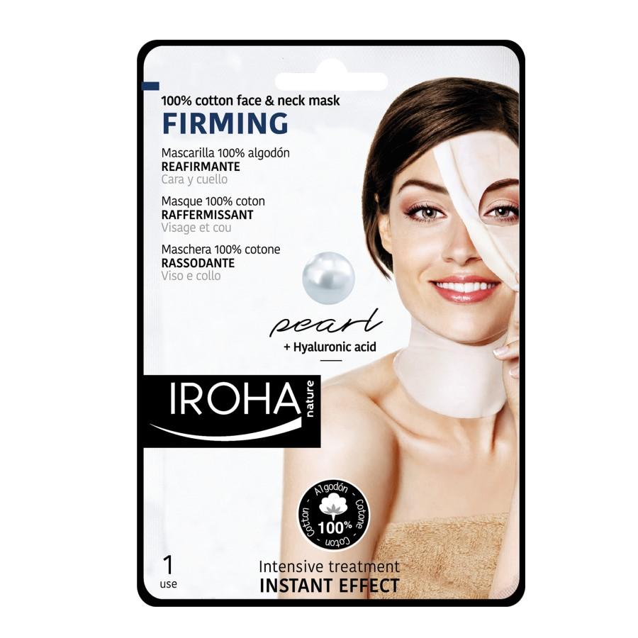 Masca pentru fata si gat pe suport textil cu efect de fermitate, 30 ml, Iroha
