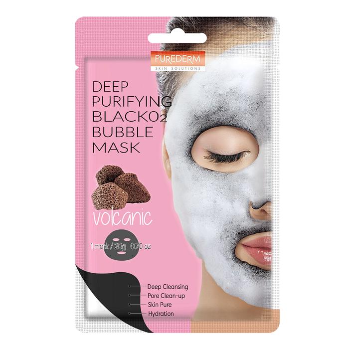 Masca purificatoare neagra cu bule de oxigen si cenusa vulcanica Deep Purifying, 20 g, Purederm