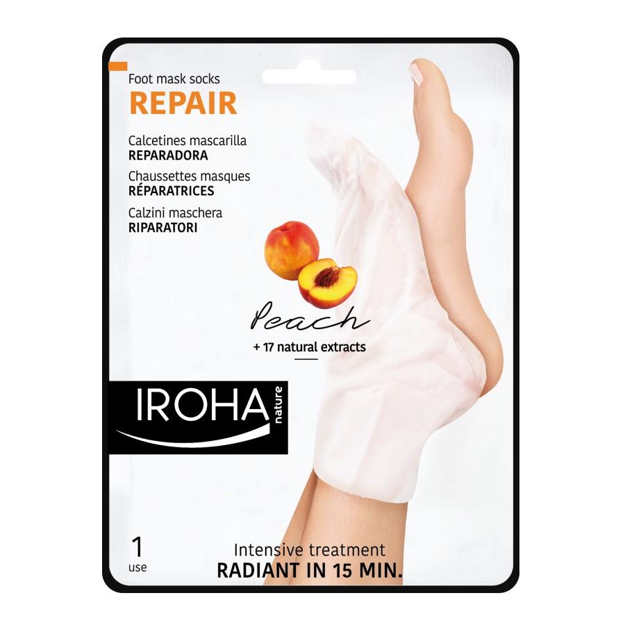 Masca-soseta cu efect de regenerare pentru picioare si unghii, 2 x 9 ml, Iroha