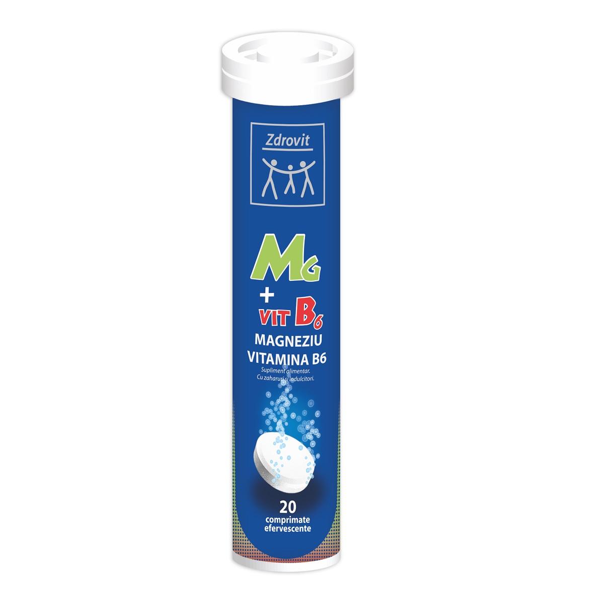 Magneziu + Vitamina B6, 20 comprimate efervescente, Zdrovit
