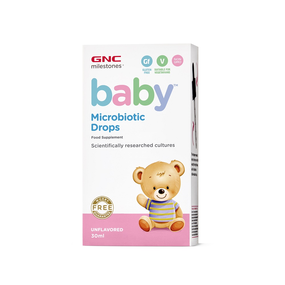 Picaturi pentru bebelusi Microbiotic Drops Milestones Baby (424682), 30 ml, GNC