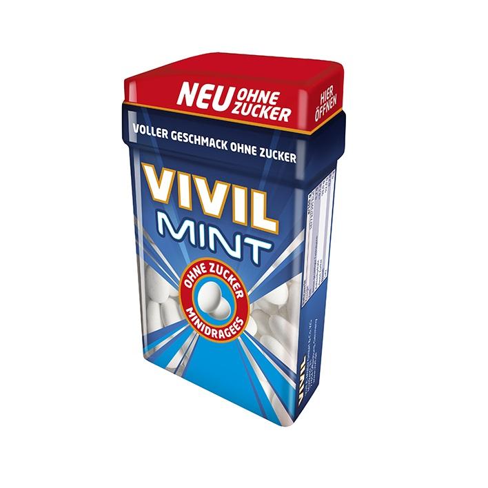 Minidrajeuri cu aroma de menta fara zahar, 40g, Vivil