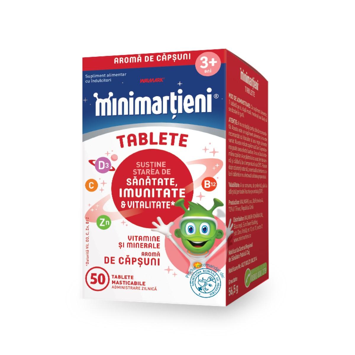 Minimarțieni cu aromă de Căpșuni, 50 tablete, Walmark