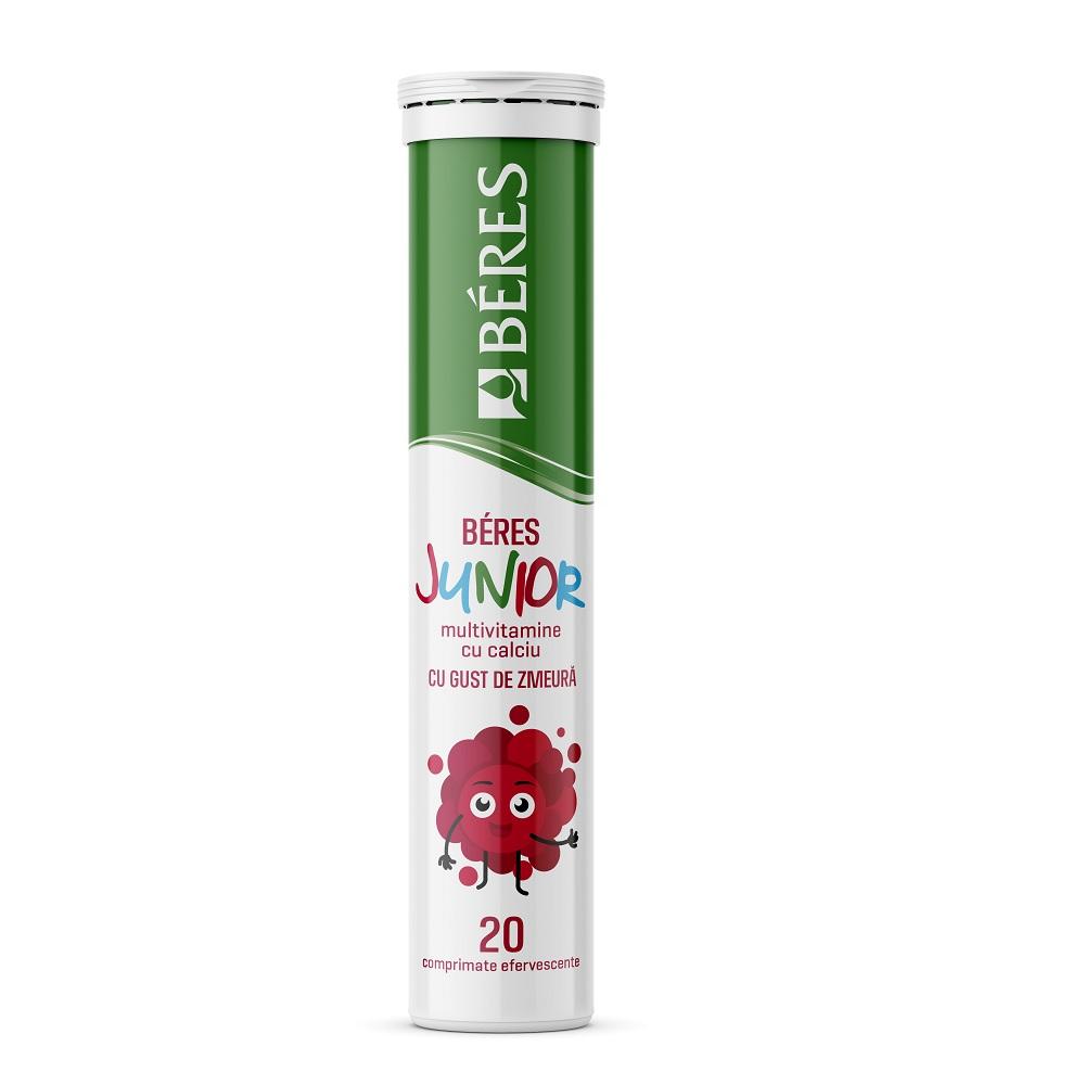 Beres Junior Multivitamine cu calciu gust de zmeură, 20 comprimate, Beres Pharmaceuticals Co