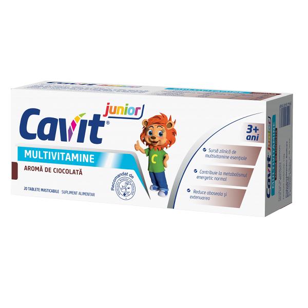 Multivitamine cu aroma de ciocolata Cavit junior, 20 tablete maticabile, Biofarm