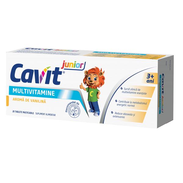 Multivitamine cu aroma de vanilie Cavit junior, 20 tablete masticabile, Biofarm