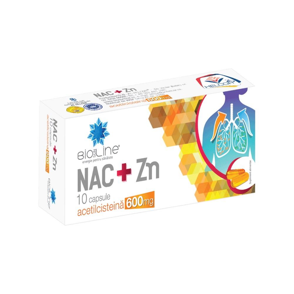 NAC+Zn 600 mg Acetilcisteină cu vitamina C Bioline, 10 capsule, Helcor
