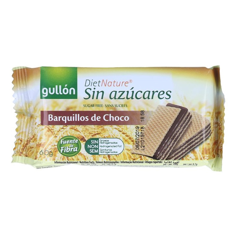 Napolitane Diabetic Ciocolata, 60 g, Gullon