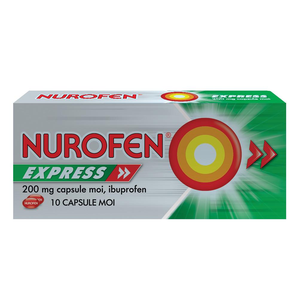 Nurofen Express 200mg, 10 capsule moi, Reckitt Benckiser Healthcare