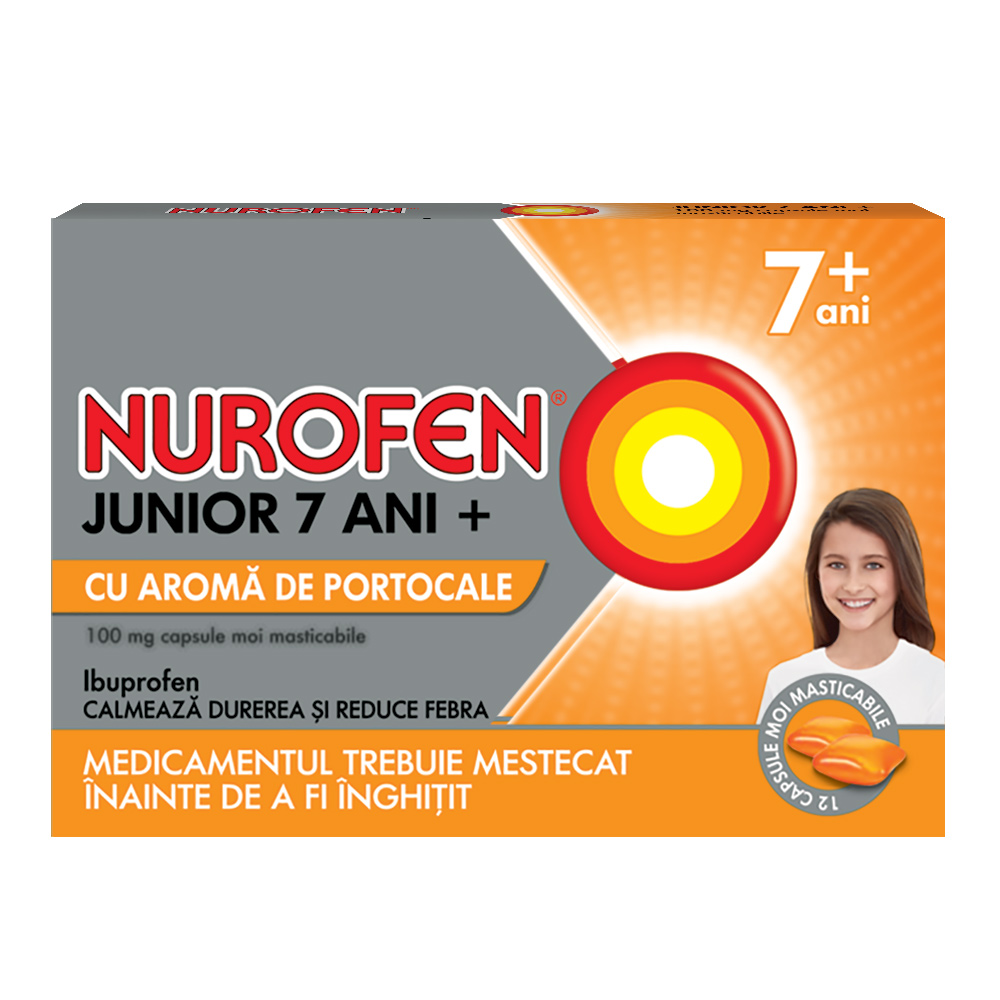 Nurofen Junior  7 ani+ 100 mg cu aromă de portocale, 12 capsule, Reckitt Benckiser