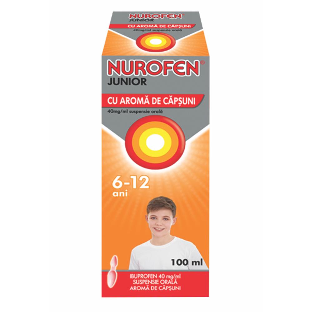 Nurofen Junior cu aromă de căpșuni, 6-12 ani, 100 ml, Reckitt Benckiser Healthcare
