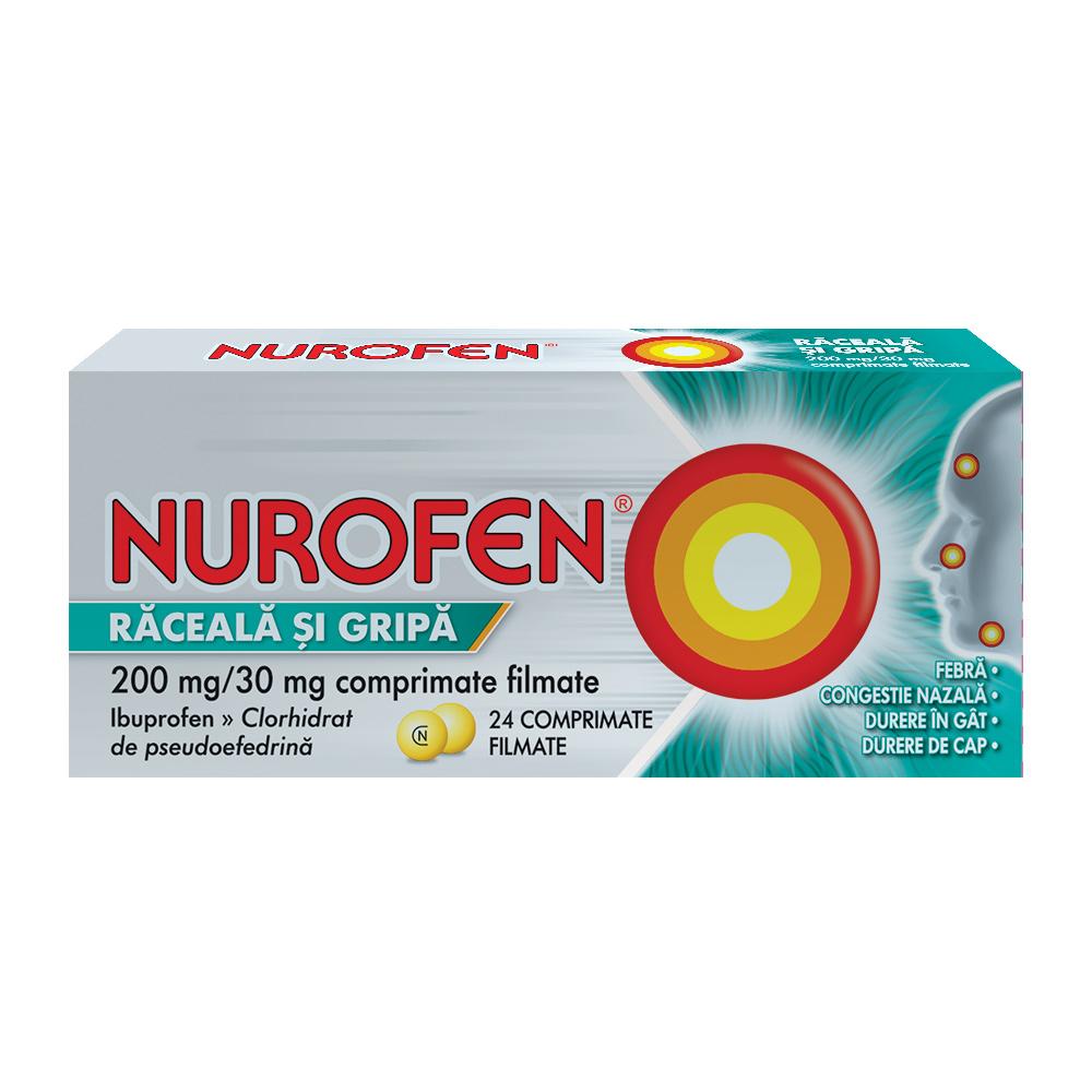 Nurofen Răceală și Gripă 200mg, 24 comprimate, Reckitt Benckiser Healthcare