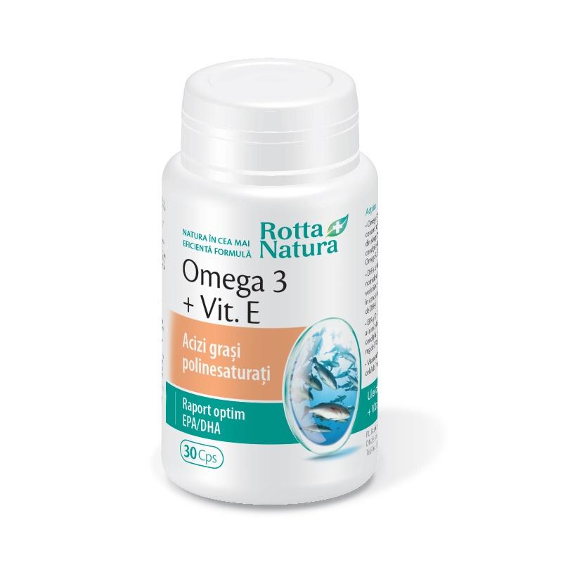 Omega 3 + Vitamina E, 1000 mg, 30 capsule, Rotta Natura