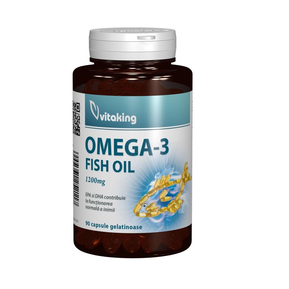 Omega 3 ulei de peste 1200 mg, 90 capsule, VitaKing
