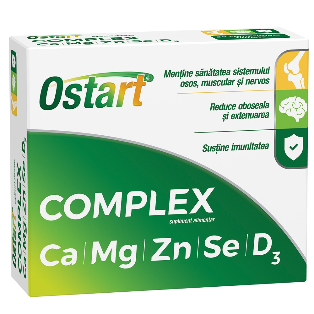 Ostart Complex Ca + Mg + Zn + Se + D3, 20 comprimate, Fiterman