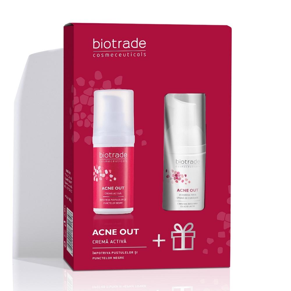 Pachet Acne Out Cremă activă pentru ten acneic, 30 ml + Spumă de curățare pentru ten acneic, 20 ml, Biotrade