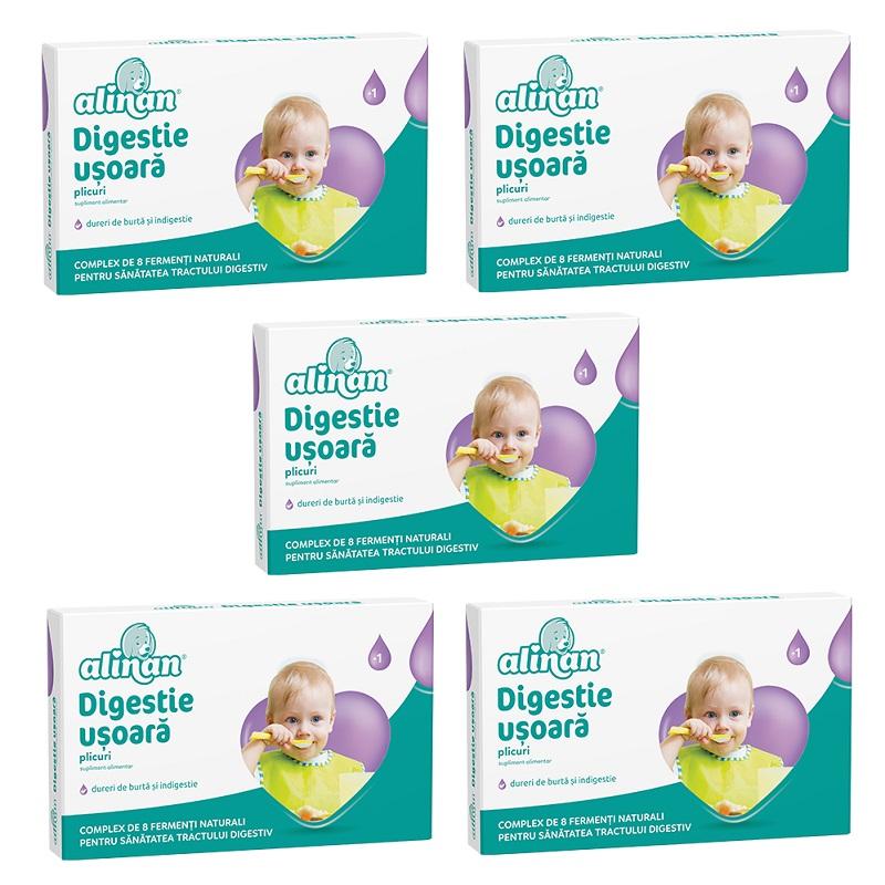 Pachet Digestie ușoară Alinan (5 la preț de 4), 10 plicuri, Fiterman