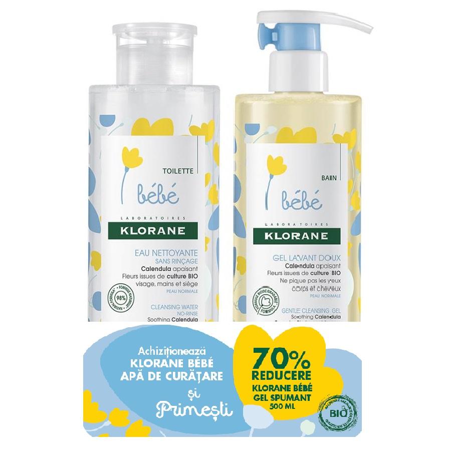 Pachet Apă de curățare pentru copii, 500 ml + Gel spumant pentru păr și corp, 500 ml, Klorane Bebe