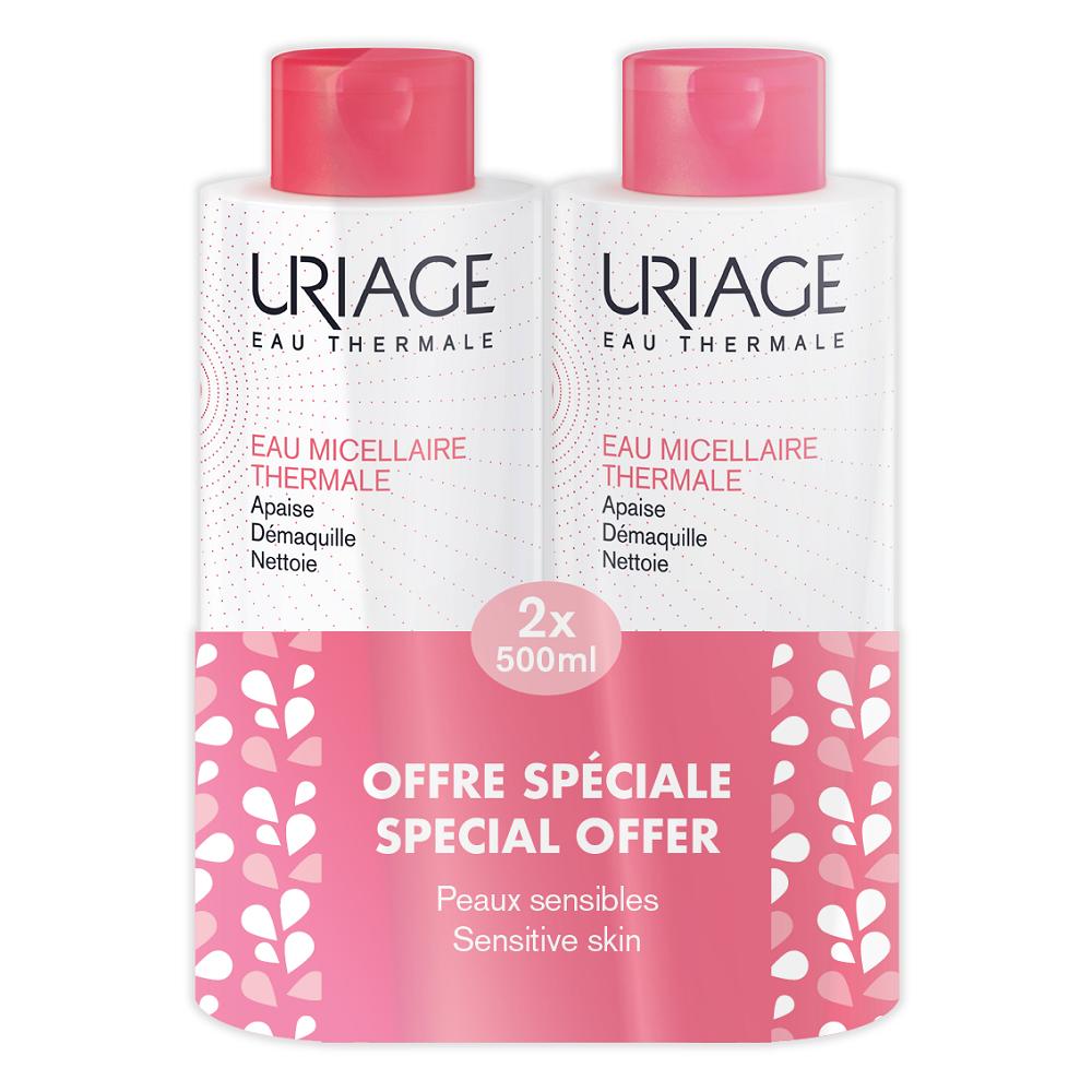 Pachet Apa Micelară termală pentru ten sensibil - roșeață, 500 ml + 500 ml, Uriage