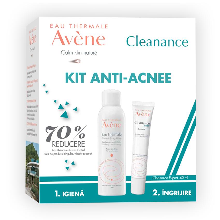 Pachet Apa termala spray, 150 ml + Emulsie pentru ten cu tendinta acneica Cleanance Expert, 40 ml, Avene