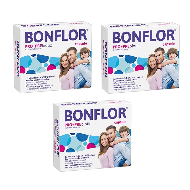 Pachet Bonflor PRO+PREbiotic (3 la preț de 2), 20 capsule, Fiterman Pharma