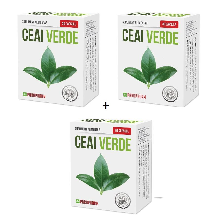 Pachet Ceai verde, 30 capsule (2+1), Parapharm