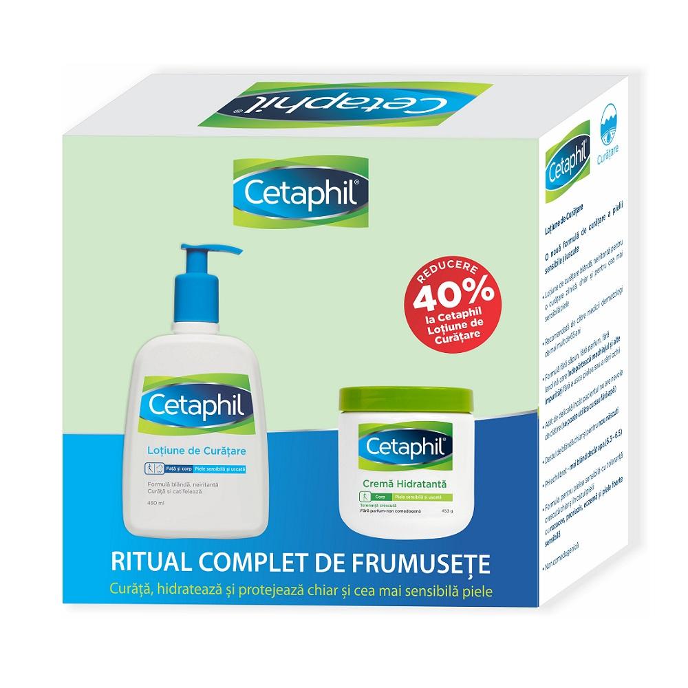 Pachet Cetaphil Lotiune de curatare, 460 ml + Crema hidratanata, 453 ml, Galderma