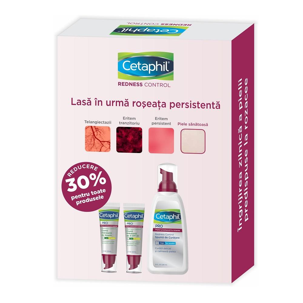 Pachet Cetaphil PRO Redness Control Cremă hidratantă de zi cu SPF 30, 50 ml + Cremă hidratantă de noapte, 50 ml + Spumă de curăţare Cetaphil, 236 ml, Galderma