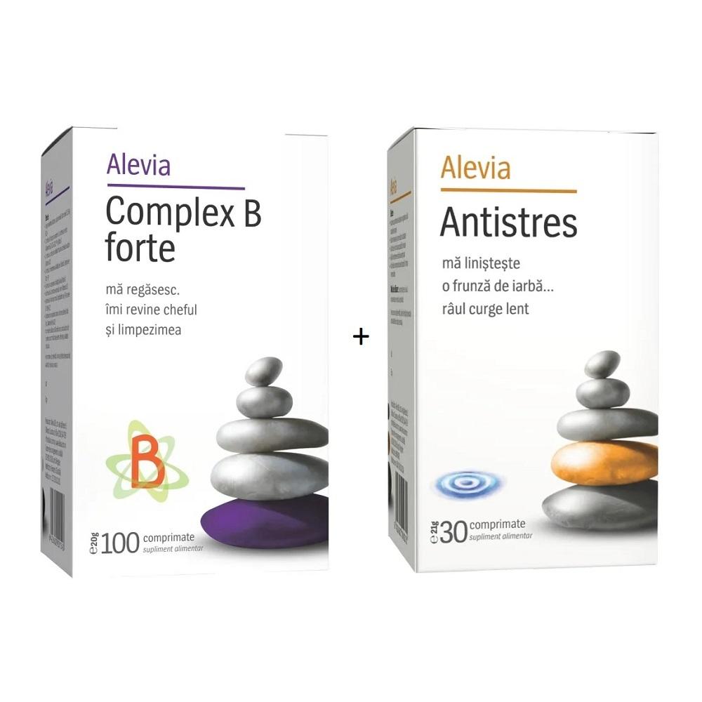 Pachet Complex B Forte, 100 comprimate + Antistres, 30 comprimate, Alevia