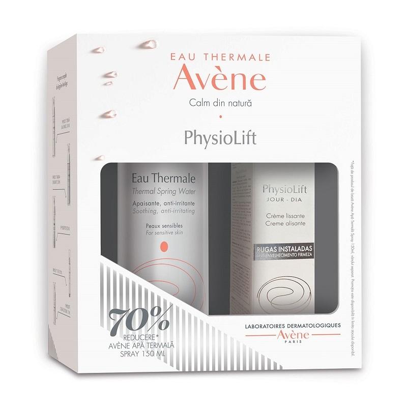 Pachet Crema de zi pentru riduri profunde PhysioLift + Apa termala spray, 150 ml, Avene