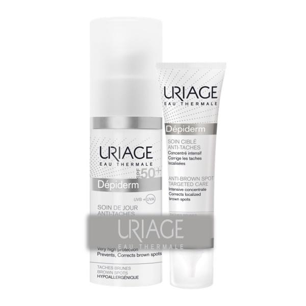 Pachet Crema pentru piele depigmentanta SPF 50+ Depiderm + Cremă pentru tratament local anti-pete Depiderm, 15 ml, Uriage