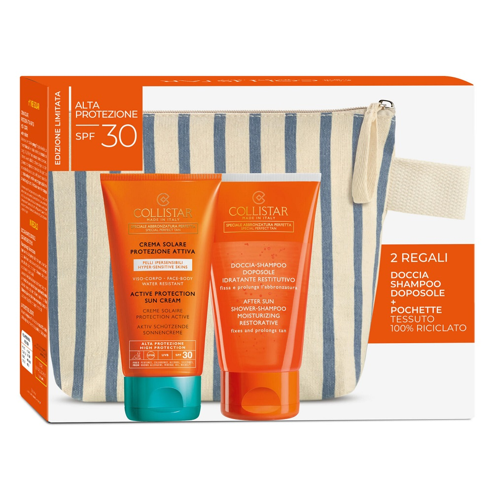 Pachet Crema protectie solara cu SPF 30, 150 ml + Sampon After Sun, 150 ml + Portfard, Collistar