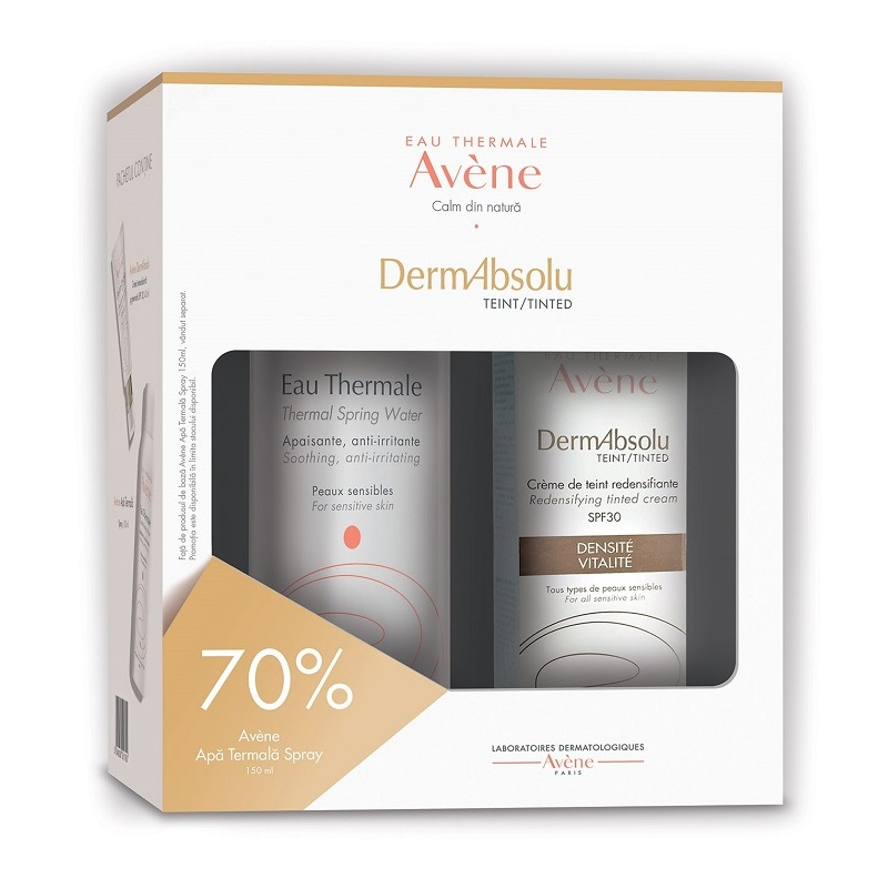 Pachet Crema remodelanta pigmentata cu SPF 30 DermAbsolu, 40 ml + Apa termala spray, 150 ml, Avene