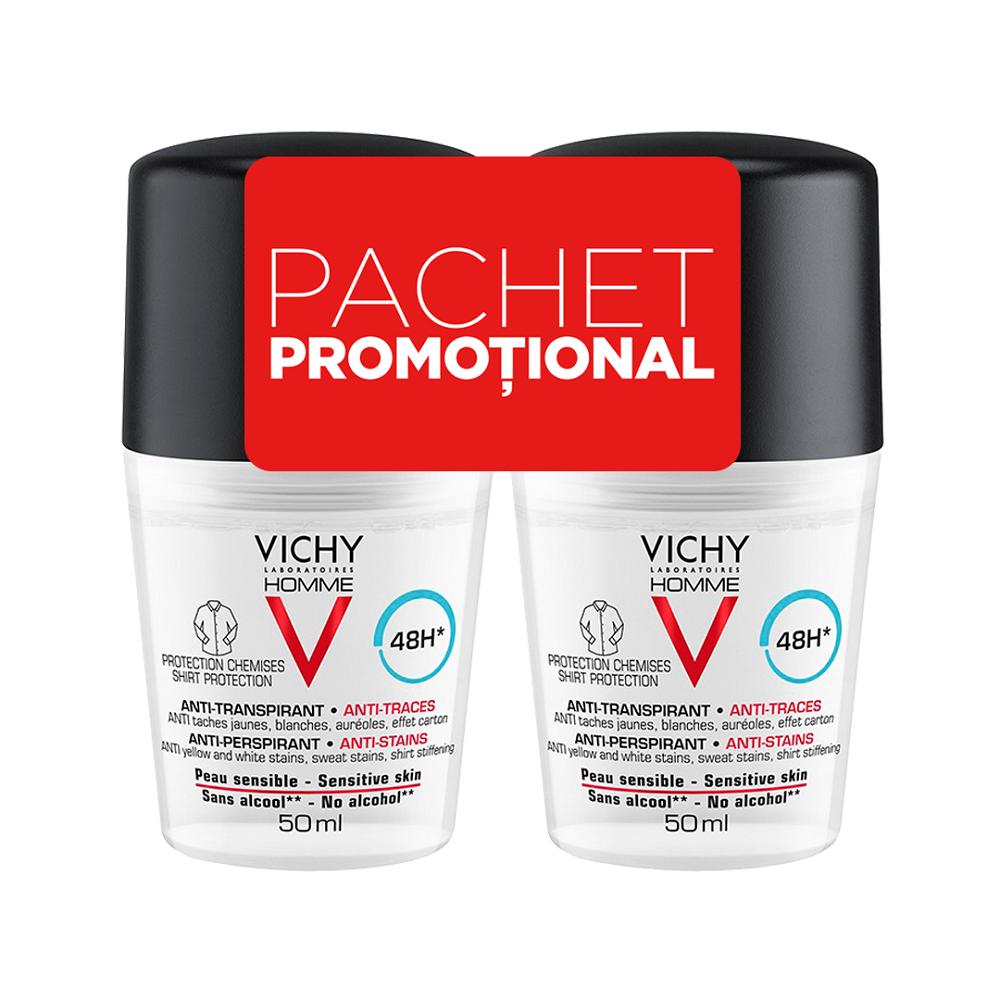 Pachet Deodorant roll-on antiperspirant anti-urme pentru bărbați 48h, 50 ml + 50 ml, Vichy Homme