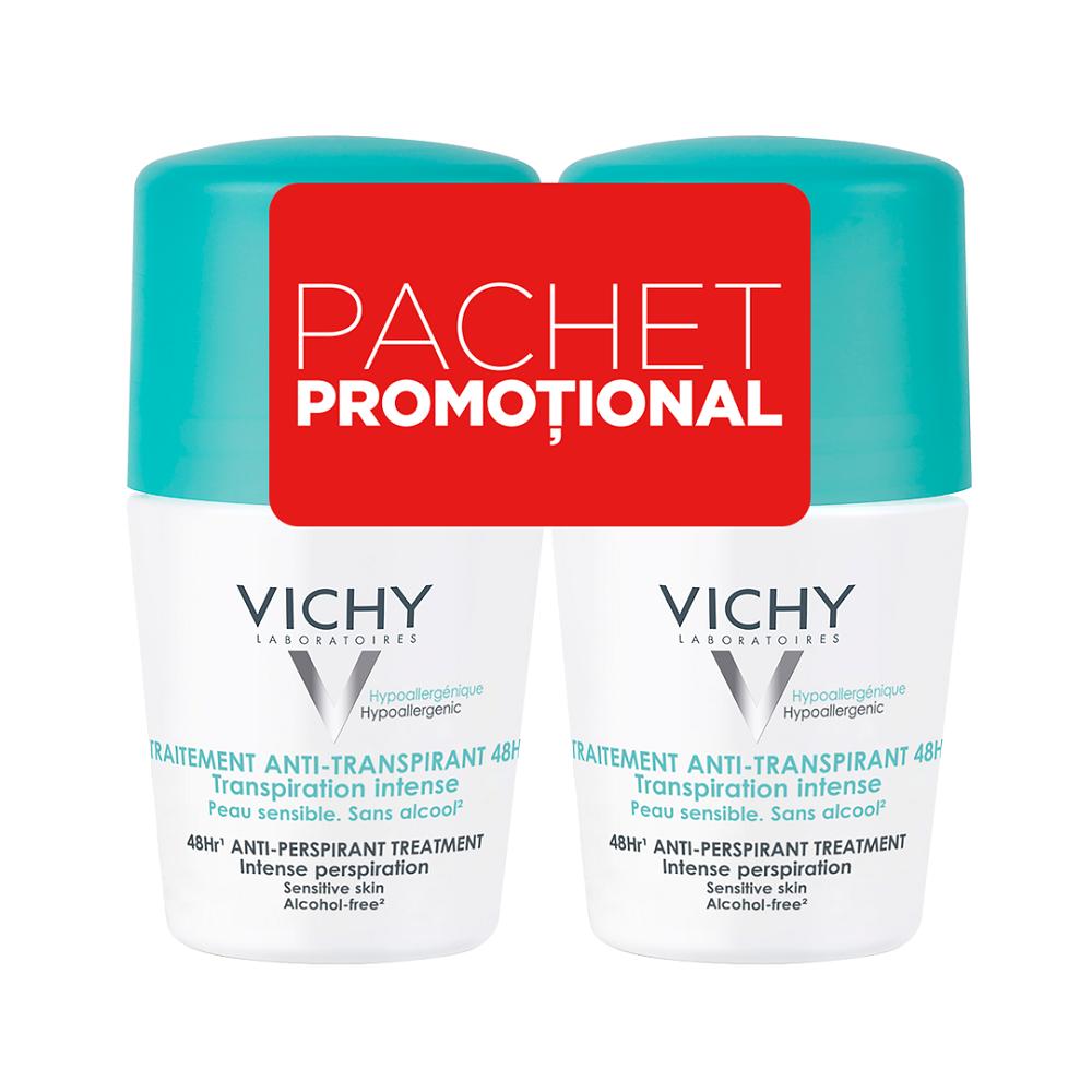 Pachet Deodorant roll-on antiperspirant cu parfum 48h, 50 ml + 50 ml, Vichy