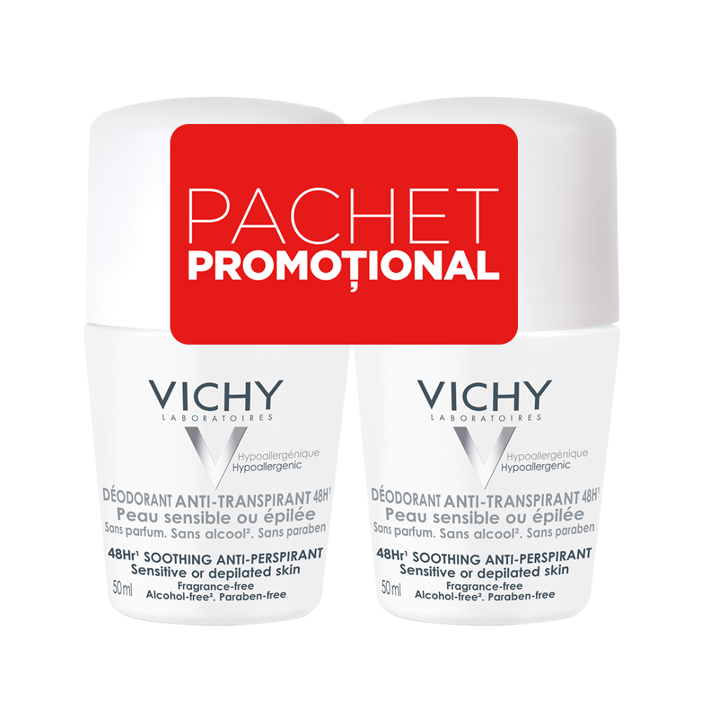 Pachet Deodorant roll-on antiperspirant fără parfum 48h, 50 ml + 50 ml, Vichy